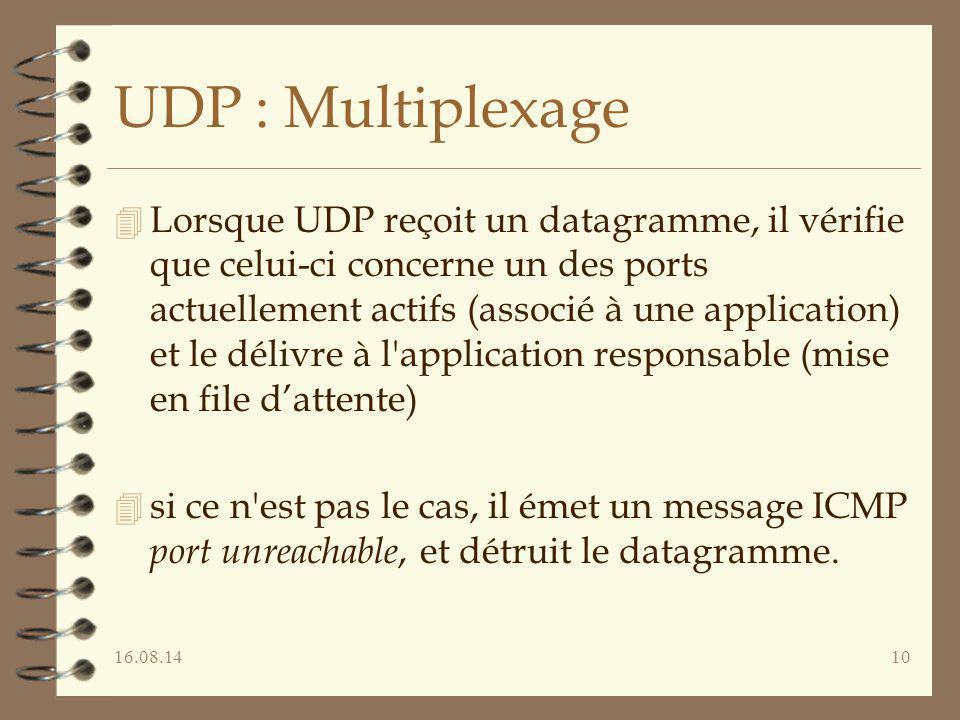 16.08.1410 UDP : Multiplexage 4 Lorsque UDP reçoit un datagramme, il vérifie que celui-ci concerne un des ports actuellement actifs (associé à une app