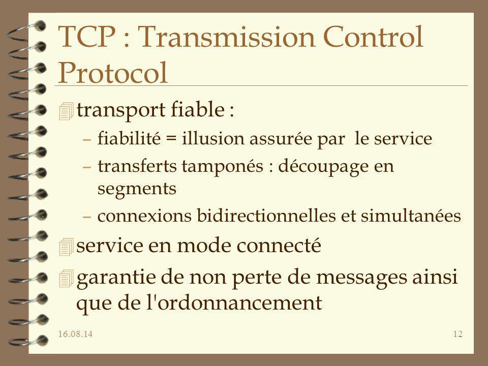 16.08.1412 TCP : Transmission Control Protocol 4 transport fiable : –fiabilité = illusion assurée par le service –transferts tamponés : découpage en s