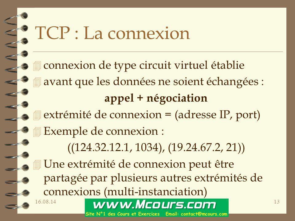 16.08.1413 TCP : La connexion 4 connexion de type circuit virtuel établie 4 avant que les données ne soient échangées : appel + négociation 4 extrémit