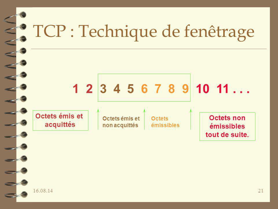 16.08.1421 TCP : Technique de fenêtrage 1 2 3 4 5 6 7 8 9 10 11... Octets émis et acquittés Octets non émissibles tout de suite. Octets émis et non ac