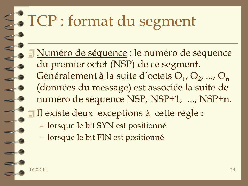 16.08.1424 TCP : format du segment 4 Numéro de séquence : le numéro de séquence du premier octet (NSP) de ce segment. Généralement à la suite d'octets