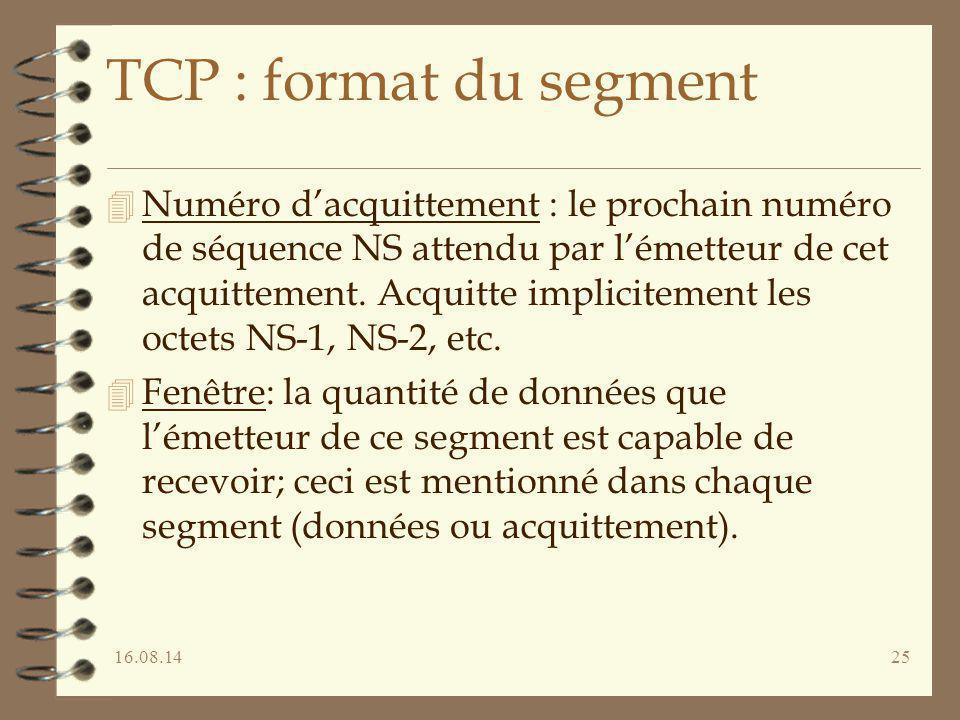 16.08.1425 TCP : format du segment 4 Numéro d'acquittement : le prochain numéro de séquence NS attendu par l'émetteur de cet acquittement. Acquitte im