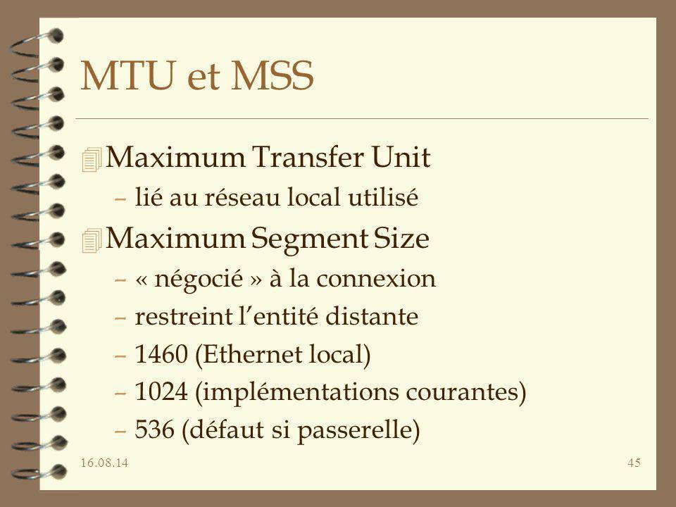 16.08.1445 MTU et MSS 4 Maximum Transfer Unit –lié au réseau local utilisé 4 Maximum Segment Size –« négocié » à la connexion –restreint l'entité dist