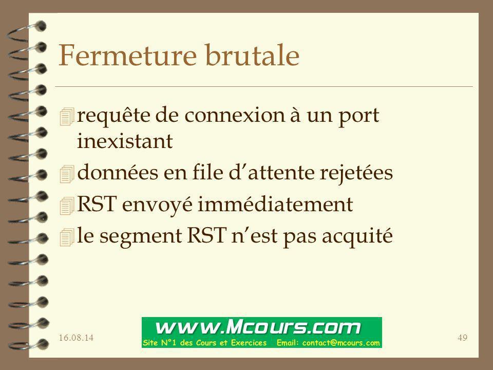 16.08.1449 Fermeture brutale 4 requête de connexion à un port inexistant 4 données en file d'attente rejetées 4 RST envoyé immédiatement 4 le segment