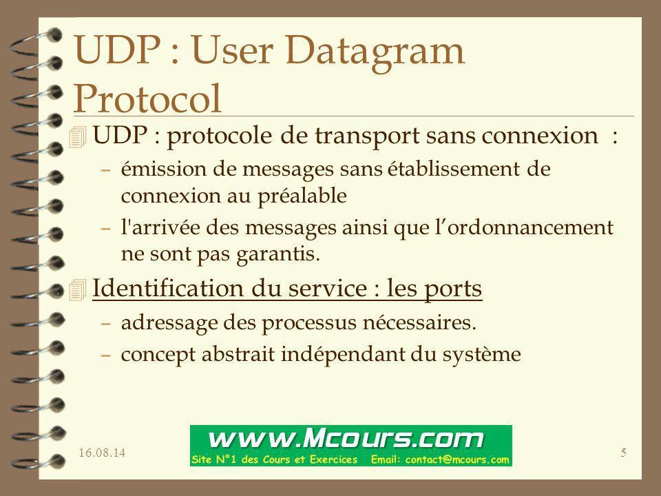 16.08.145 UDP : User Datagram Protocol 4 UDP : protocole de transport sans connexion : –émission de messages sans établissement de connexion au préala