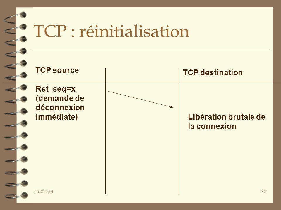 16.08.1450 TCP : réinitialisation TCP source TCP destination Rst seq=x (demande de déconnexion immédiate) Libération brutale de la connexion