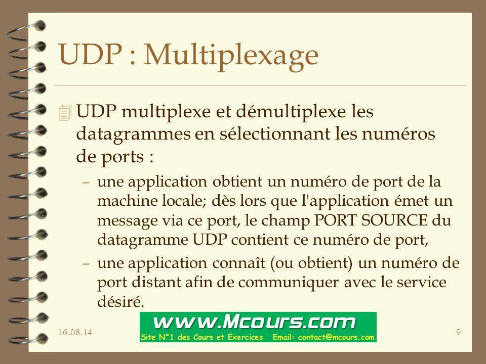 16.08.149 UDP : Multiplexage 4 UDP multiplexe et démultiplexe les datagrammes en sélectionnant les numéros de ports : –une application obtient un numé