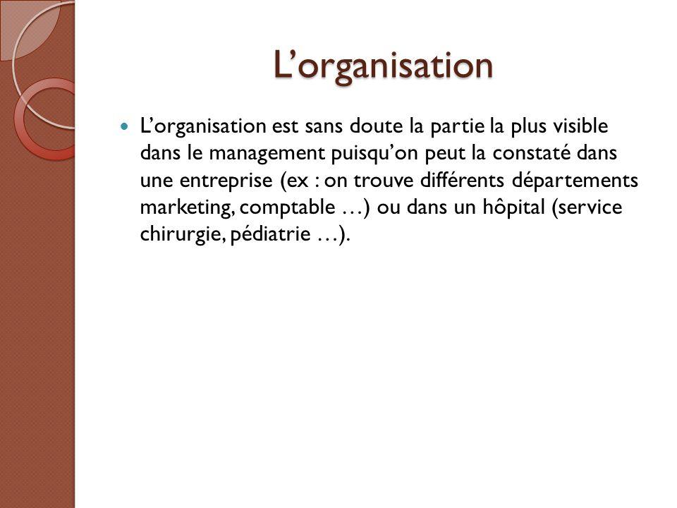 L'organisation L'organisation est sans doute la partie la plus visible dans le management puisqu'on peut la constaté dans une entreprise (ex : on trou