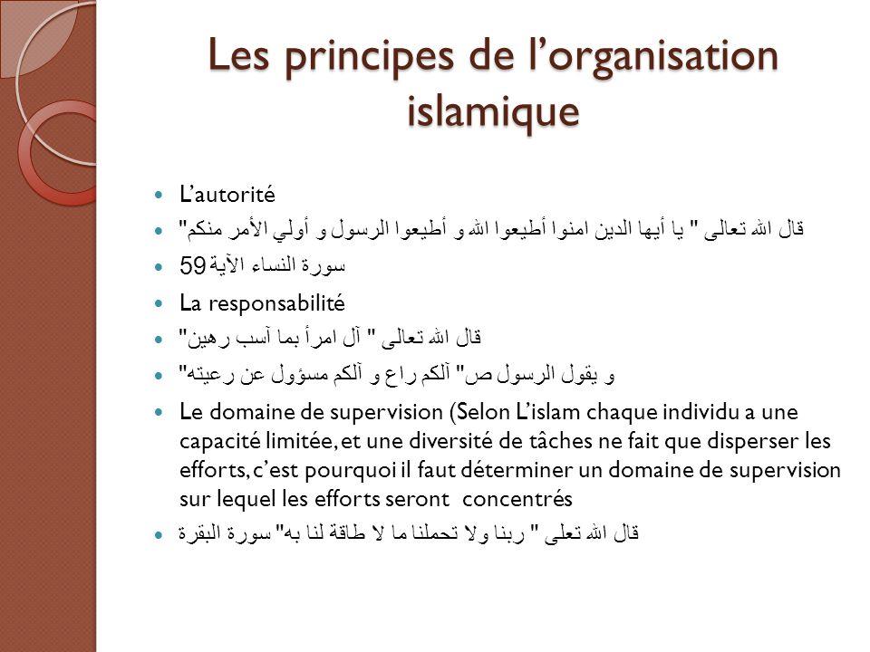 Les principes de l'organisation islamique L'autorité قال الله تعالى