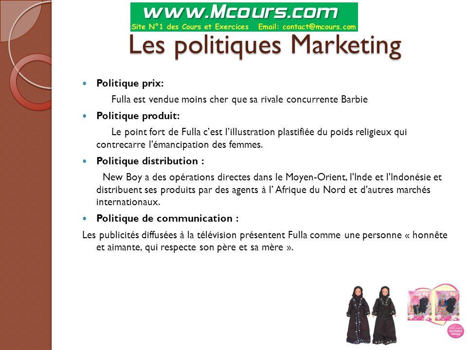 Les politiques Marketing Politique prix: Fulla est vendue moins cher que sa rivale concurrente Barbie Politique produit: Le point fort de Fulla c'est