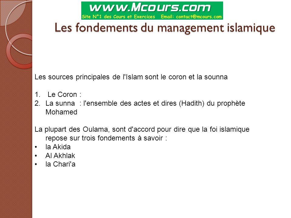 Les fondements du management islamique Les sources principales de l'Islam sont le coron et la sounna 1. Le Coron : 2.La sunna : l'ensemble des actes e