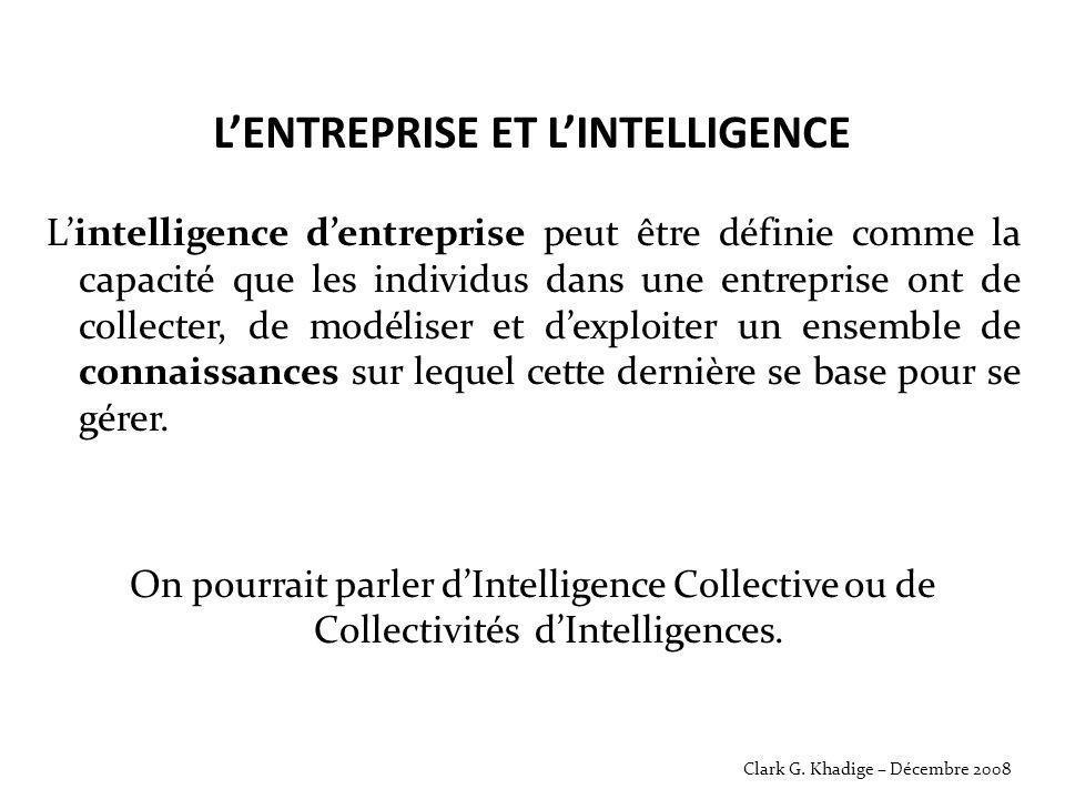 L'ENTREPRISE ET L'INTELLIGENCE L'intelligence d'entreprise peut être définie comme la capacité que les individus dans une entreprise ont de collecter,