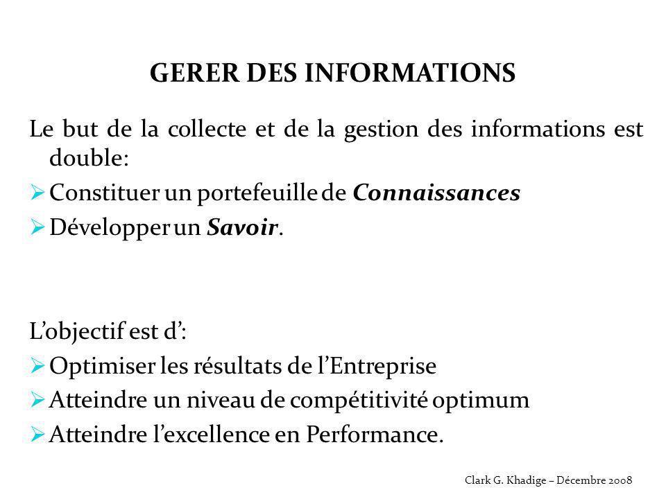 GERER DES INFORMATIONS Le but de la collecte et de la gestion des informations est double:  Constituer un portefeuille de Connaissances  Développer