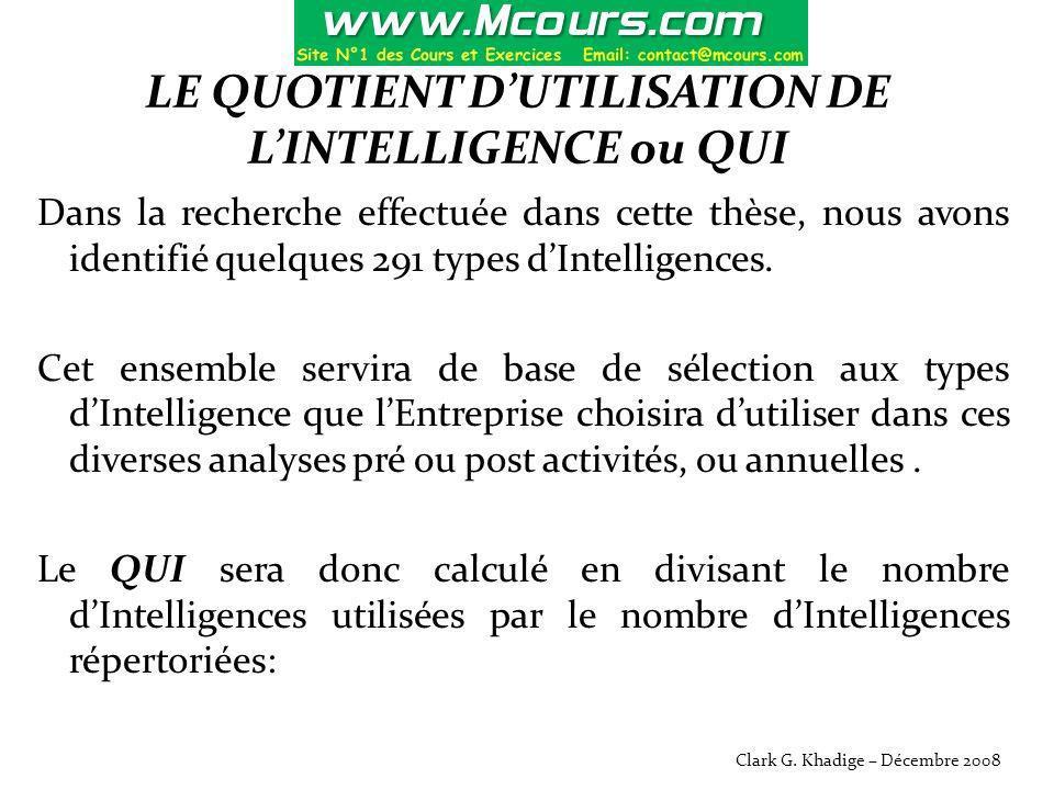 LE QUOTIENT D'UTILISATION DE L'INTELLIGENCE ou QUI Dans la recherche effectuée dans cette thèse, nous avons identifié quelques 291 types d'Intelligenc