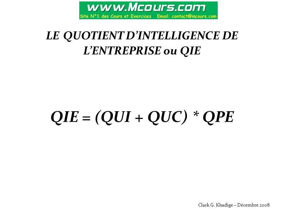 LE QUOTIENT D'INTELLIGENCE DE L'ENTREPRISE ou QIE QIE = (QUI + QUC) * QPE Clark G. Khadige – Décembre 2008