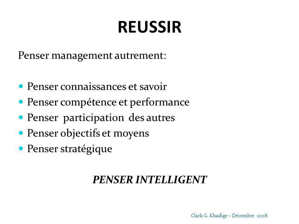 REUSSIR Penser management autrement: Penser connaissances et savoir Penser compétence et performance Penser participation des autres Penser objectifs