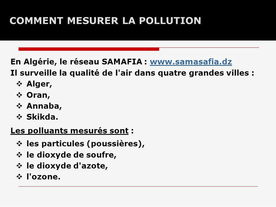 COMMENT MESURER LA POLLUTION En Algérie, le réseau SAMAFIA : www.samasafia.dzwww.samasafia.dz Il surveille la qualité de l air dans quatre grandes villes :  Alger,  Oran,  Annaba,  Skikda.