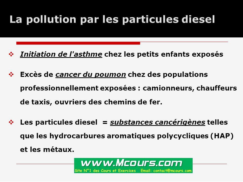 La pollution par les particules diesel  Initiation de l asthme chez les petits enfants exposés  Excès de cancer du poumon chez des populations professionnellement exposées : camionneurs, chauffeurs de taxis, ouvriers des chemins de fer.