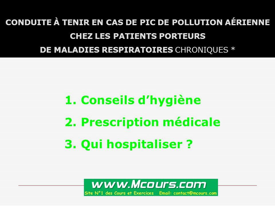 CONDUITE À TENIR EN CAS DE PIC DE POLLUTION AÉRIENNE CHEZ LES PATIENTS PORTEURS DE MALADIES RESPIRATOIRES CHRONIQUES * 1.