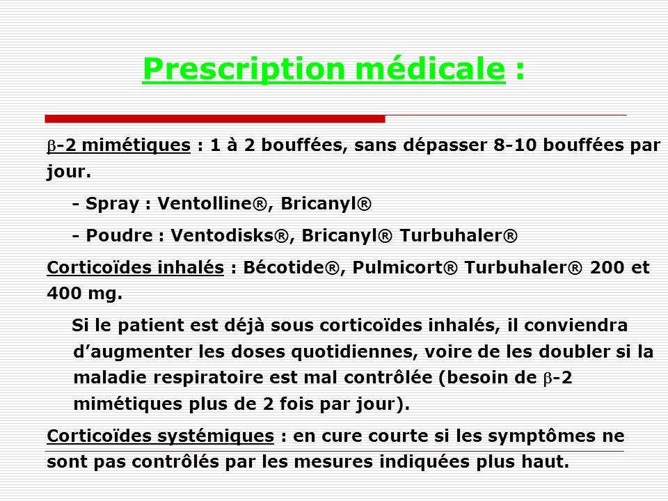 Prescription médicale : -2 mimétiques : 1 à 2 bouffées, sans dépasser 8-10 bouffées par jour.