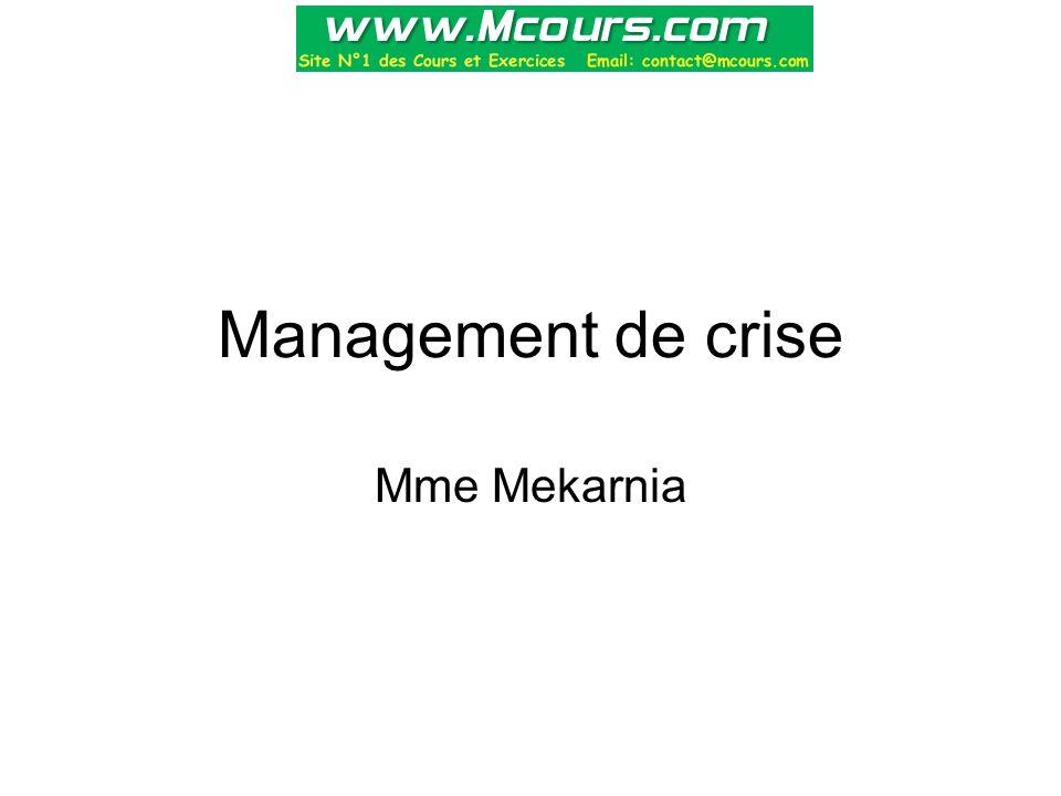 Savoir clore une crise Les crises ont le plus souvent l'allure de rapides (descente de rivière) où les épisodes et la mise en tension se succèdent irrégulièrement.