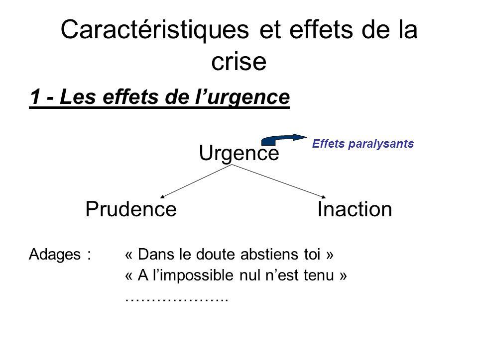 1 - Les effets de l'urgence Urgence Prudence Inaction Adages : « Dans le doute abstiens toi » « A l'impossible nul n'est tenu » ……………….. Caractéristiq