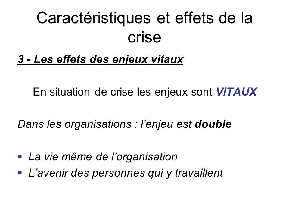 3 - Les effets des enjeux vitaux En situation de crise les enjeux sont VITAUX Dans les organisations : l'enjeu est double  La vie même de l'organisat