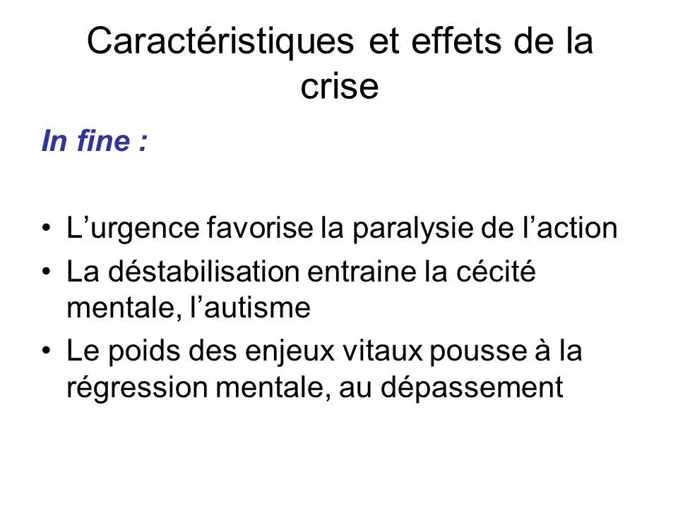 In fine : L'urgence favorise la paralysie de l'action La déstabilisation entraine la cécité mentale, l'autisme Le poids des enjeux vitaux pousse à la