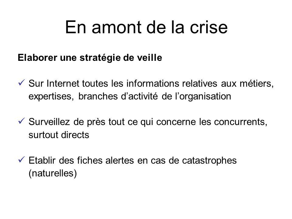 Elaborer une stratégie de veille Sur Internet toutes les informations relatives aux métiers, expertises, branches d'activité de l'organisation Surveil