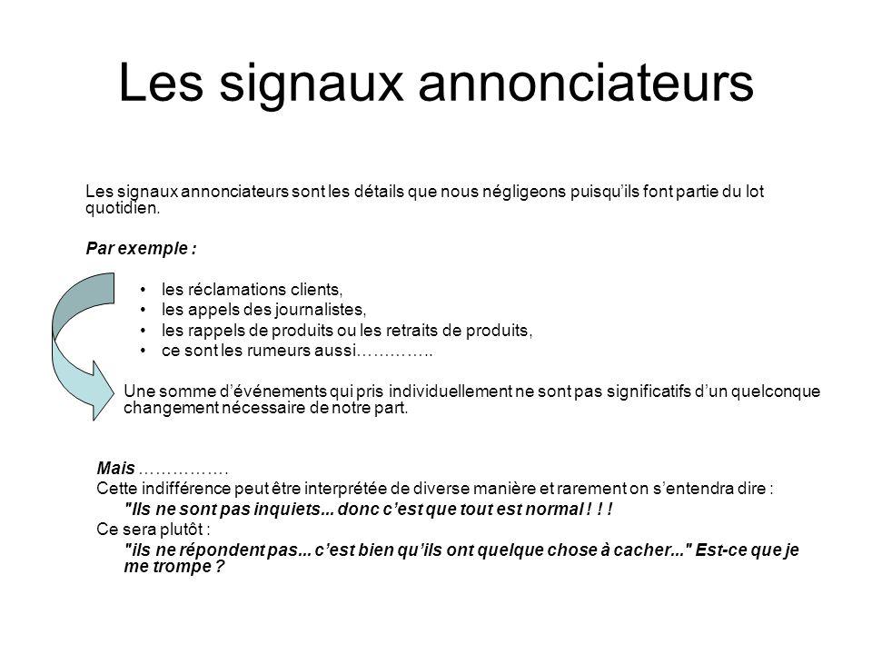 Les signaux annonciateurs Les signaux annonciateurs sont les détails que nous négligeons puisqu'ils font partie du lot quotidien. Par exemple : les ré