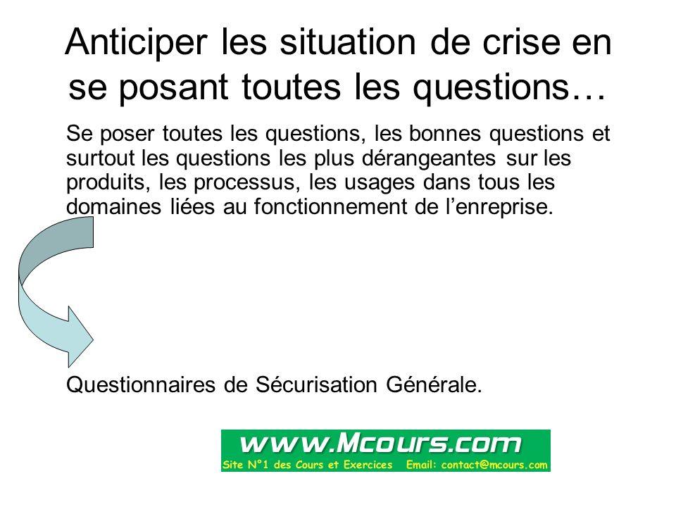 Anticiper les situation de crise en se posant toutes les questions… Se poser toutes les questions, les bonnes questions et surtout les questions les p