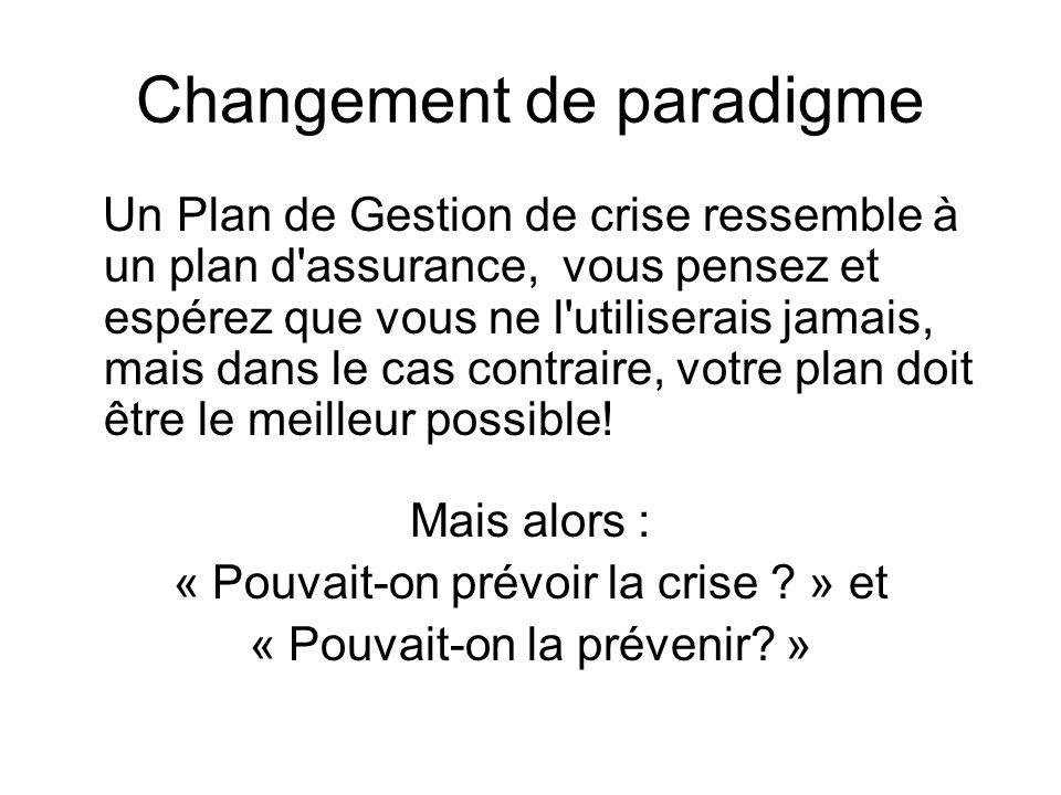 Changement de paradigme Un Plan de Gestion de crise ressemble à un plan d'assurance, vous pensez et espérez que vous ne l'utiliserais jamais, mais dan
