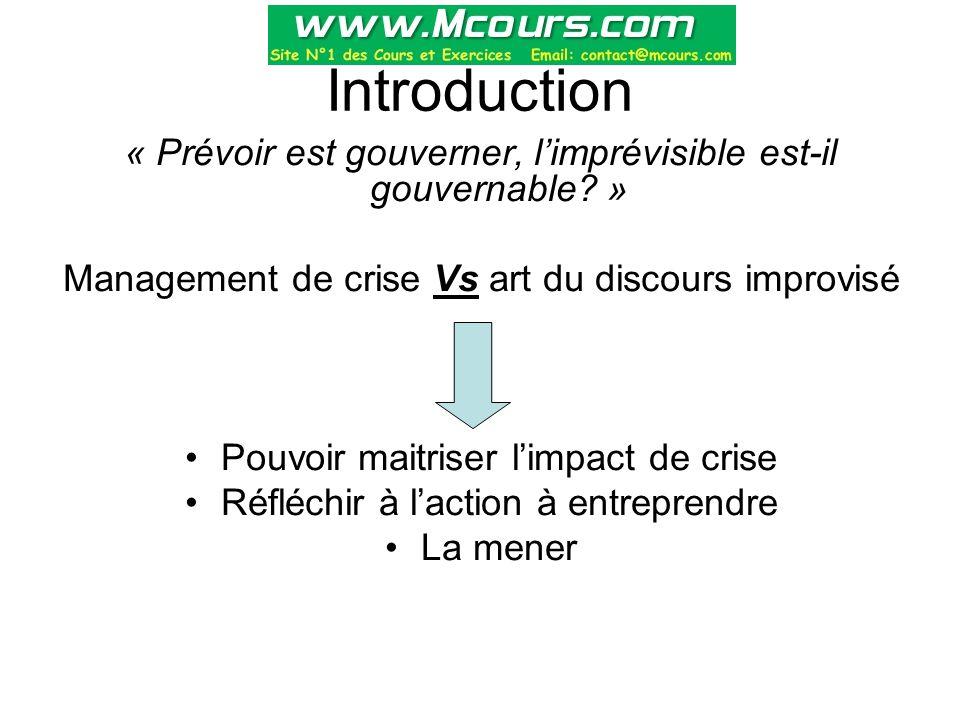 Introduction « Prévoir est gouverner, l'imprévisible est-il gouvernable? » Management de crise Vs art du discours improvisé Pouvoir maitriser l'impact