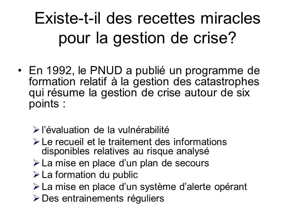 Existe-t-il des recettes miracles pour la gestion de crise? En 1992, le PNUD a publié un programme de formation relatif à la gestion des catastrophes