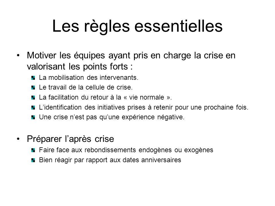 Les règles essentielles Motiver les équipes ayant pris en charge la crise en valorisant les points forts : La mobilisation des intervenants. Le travai