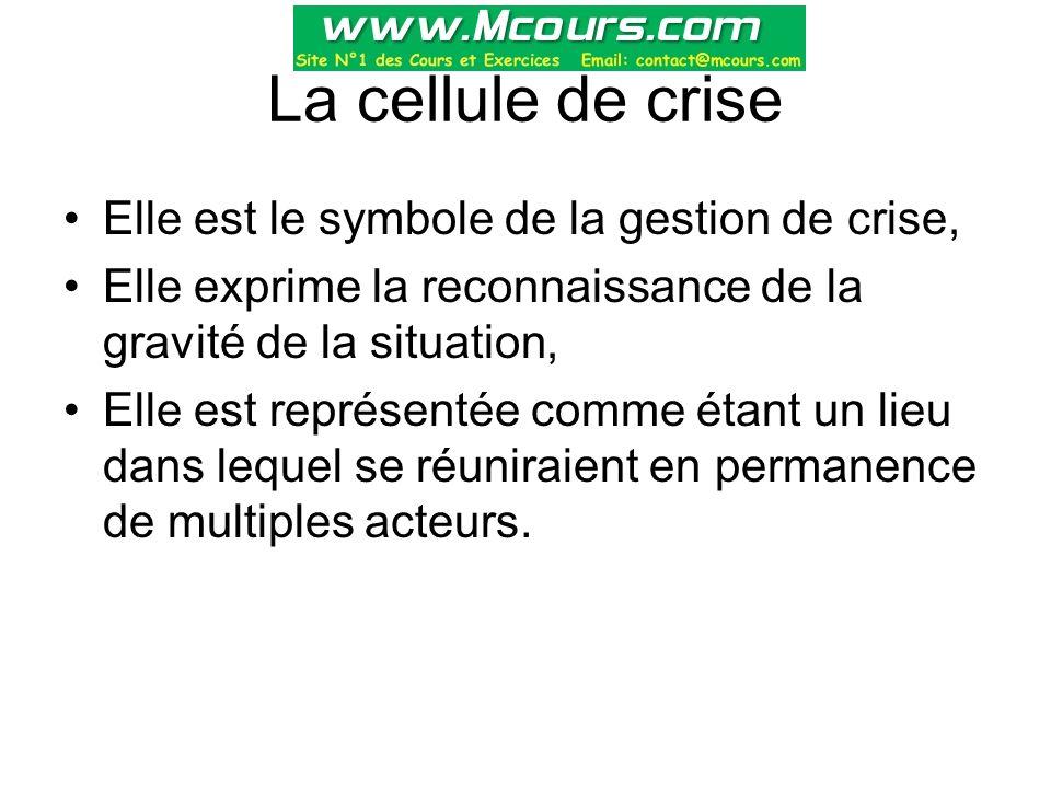 La cellule de crise Elle est le symbole de la gestion de crise, Elle exprime la reconnaissance de la gravité de la situation, Elle est représentée com
