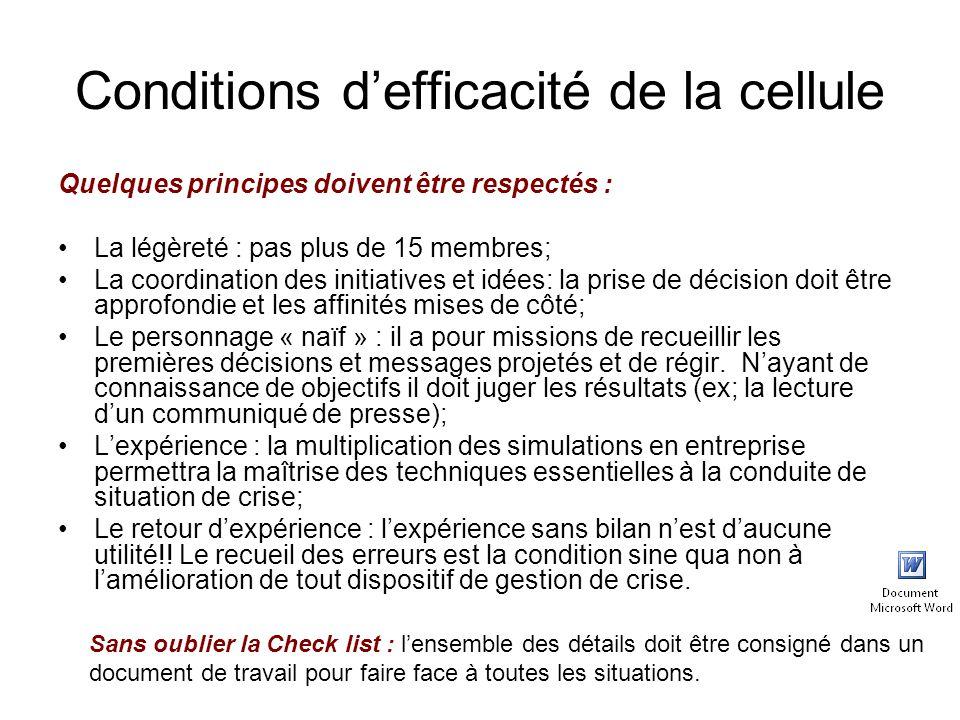 Conditions d'efficacité de la cellule Quelques principes doivent être respectés : La légèreté : pas plus de 15 membres; La coordination des initiative