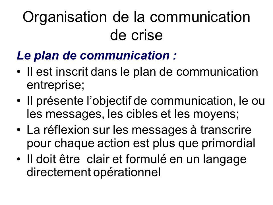 Organisation de la communication de crise Le plan de communication : Il est inscrit dans le plan de communication entreprise; Il présente l'objectif d