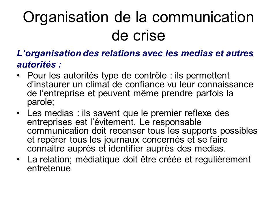 Organisation de la communication de crise L'organisation des relations avec les medias et autres autorités : Pour les autorités type de contrôle : ils