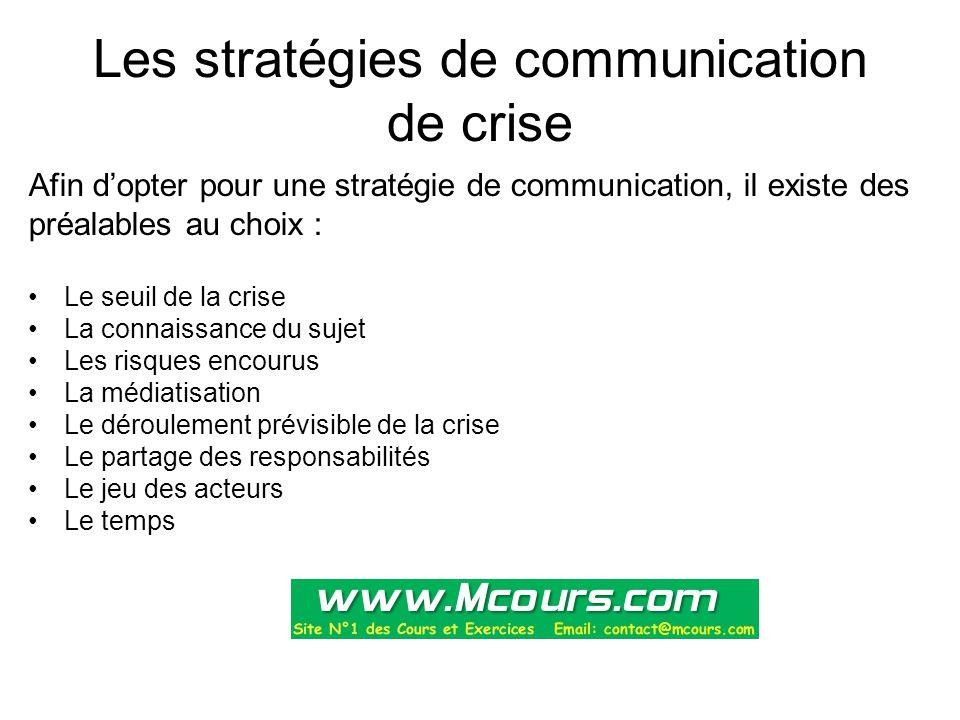 Les stratégies de communication de crise Afin d'opter pour une stratégie de communication, il existe des préalables au choix : Le seuil de la crise La