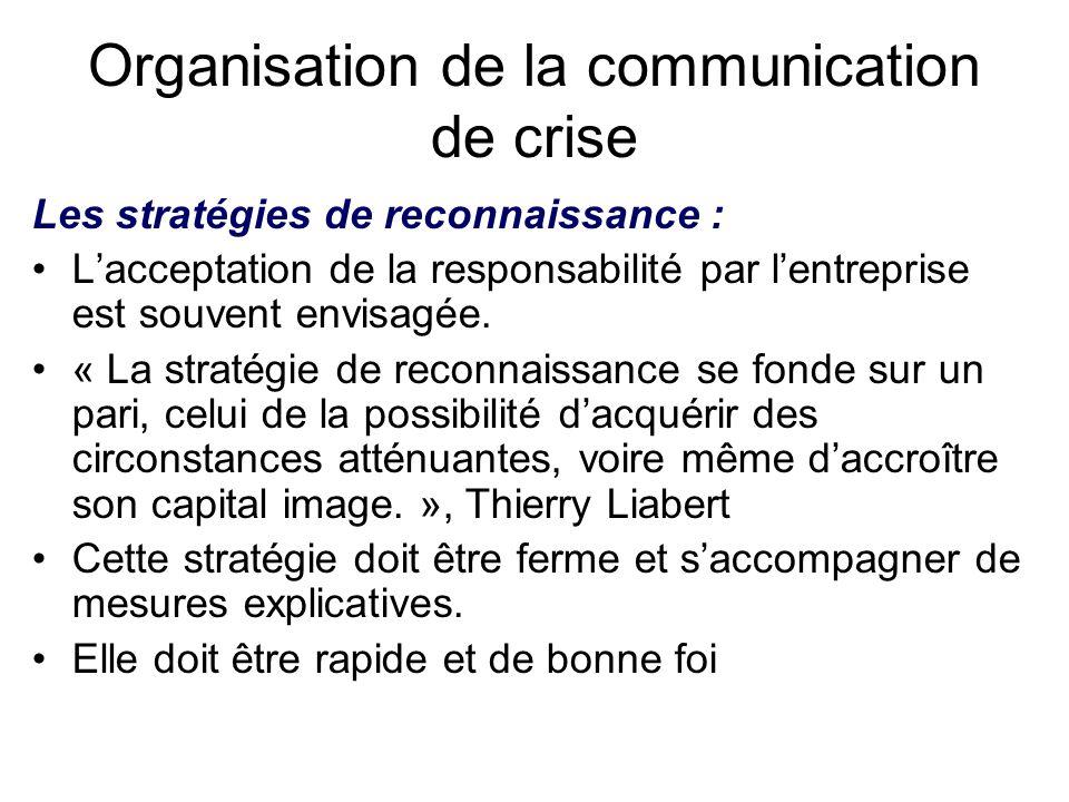 Organisation de la communication de crise Les stratégies de reconnaissance : L'acceptation de la responsabilité par l'entreprise est souvent envisagée