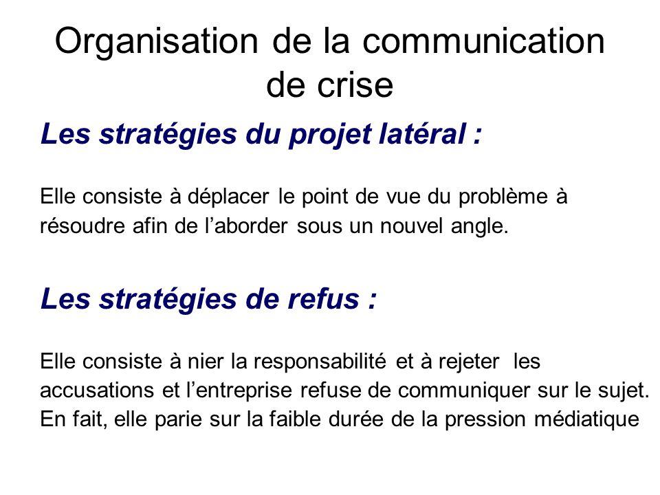 Organisation de la communication de crise Les stratégies du projet latéral : Elle consiste à déplacer le point de vue du problème à résoudre afin de l