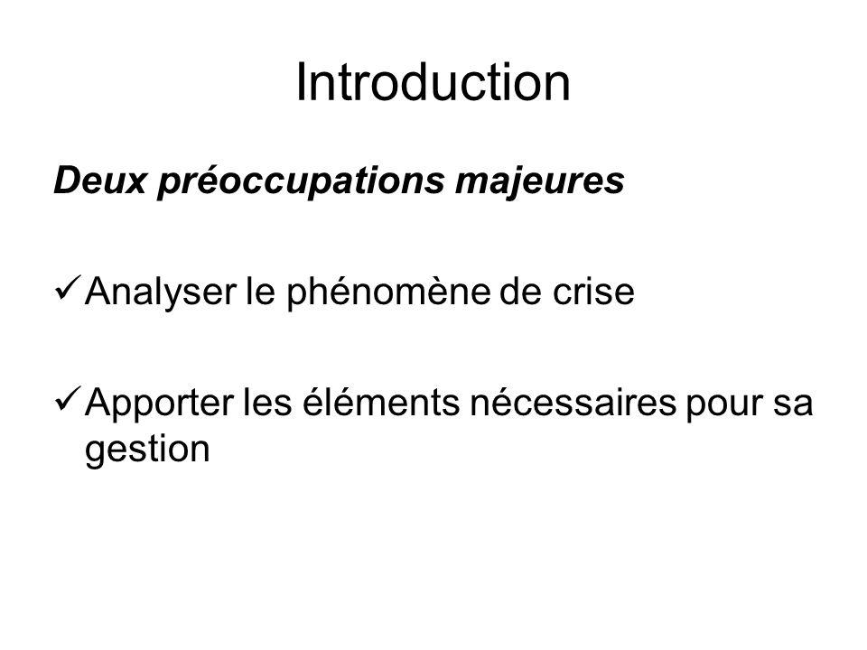 Introduction Deux préoccupations majeures Analyser le phénomène de crise Apporter les éléments nécessaires pour sa gestion