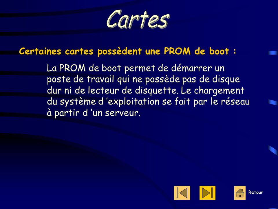 Retour Certaines cartes possèdent une PROM de boot : La PROM de boot permet de démarrer un poste de travail qui ne possède pas de disque dur ni de lecteur de disquette.