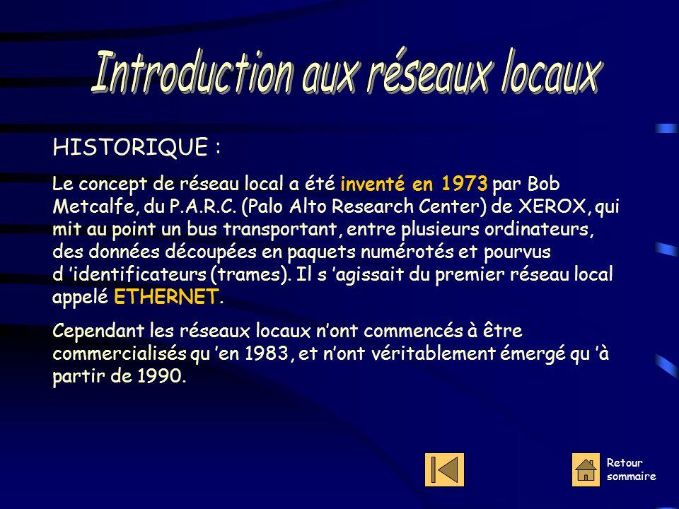 Retour sommaire HISTORIQUE : Le concept de réseau local a été inventé en 1973 par Bob Metcalfe, du P.A.R.C.