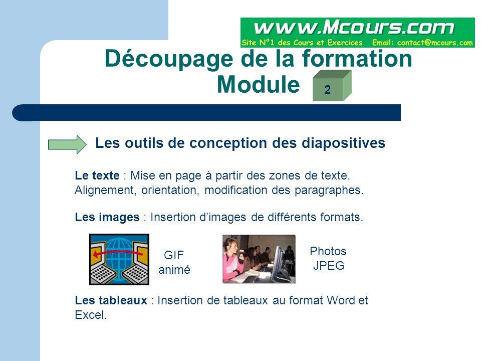 Découpage de la formation Module Création d'une présentation en utilisant les modèles et assistants Le modèle permet à partir d'une présentation déjà