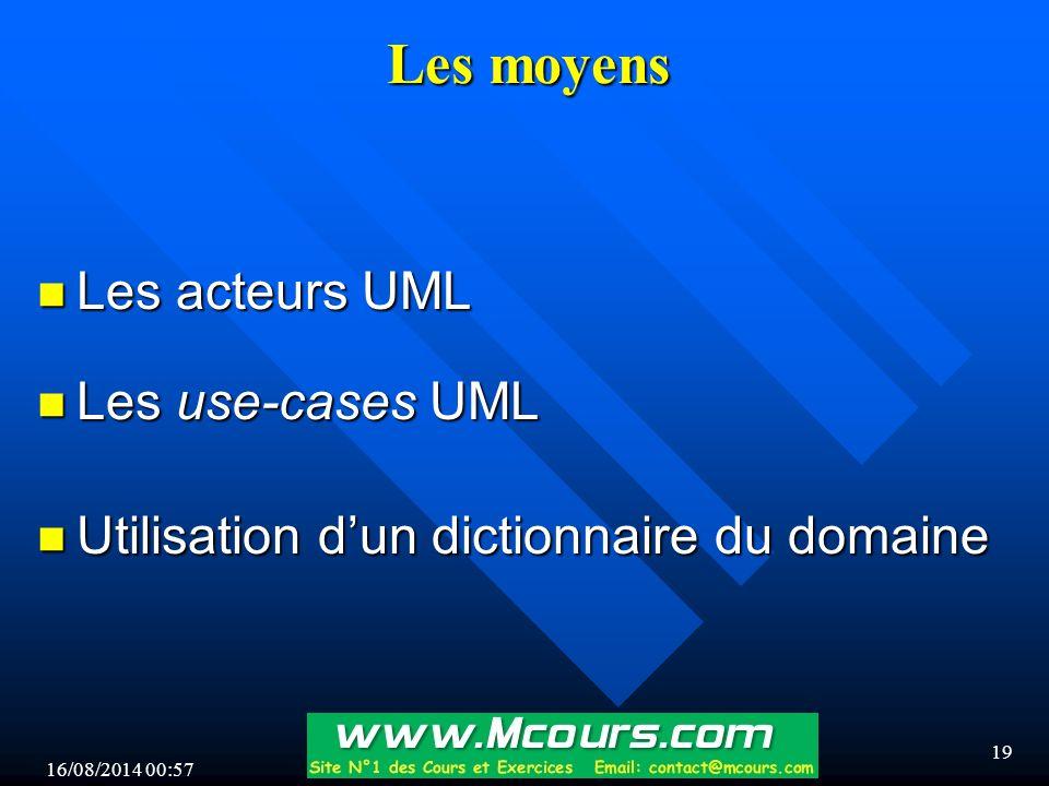 16/08/2014 00:59 19 Les moyens n Les acteurs UML n Les use-cases UML n Utilisation d'un dictionnaire du domaine