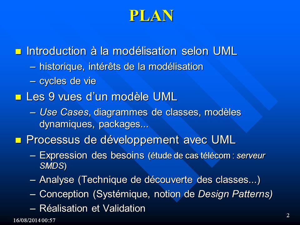 16/08/2014 00:59 13 Vision «générique» d'un cycle UML INCEPTION Cas d utilisation Modèle des objets du domaine Interfaces Maquettes VALIDATION Validation technique Validation par les utilisateurs ELABORATION Architecture Modèles des objets et scénarios Règles de transformation (Design patterns) CONSTRUCTION Modèle détaillé des objets Scénarios détaillés Algorithmes Codage - Mise au point Intégration UML Modèle utilisateur Modèle statique Modèle dynamique Modèle d'implantation