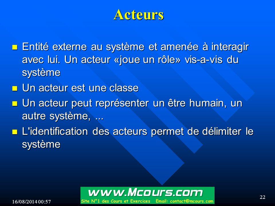 16/08/2014 00:59 22 Acteurs n Entité externe au système et amenée à interagir avec lui.