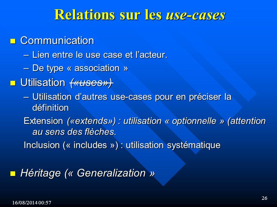 16/08/2014 00:59 26 Relations sur les use-cases n Communication –Lien entre le use case et l'acteur.